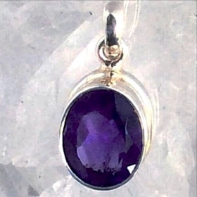 Amethyst Faceted Sterling Silver Pendant- New Earth Gifts