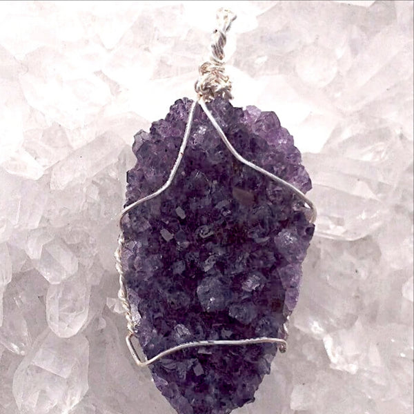 Amethyst Wire Wrapped Drusy Oval Pendant - New Earth Gifts