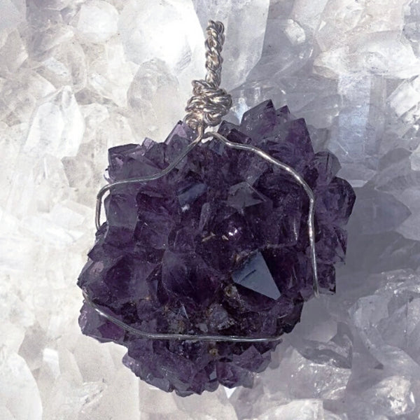 Amethyst Drusy Wire Wrapped Flower Pendant Medallion | New Earth Gifts