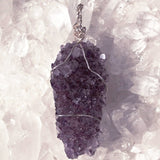 Amethyst Drusy Long Multi Crystal Pendant | New Earth Gifts