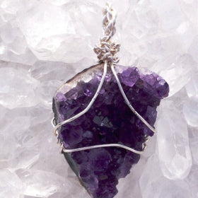 Amethyst Drusy Wire Wrapped Pendant Heart Style - New Earth Gifts