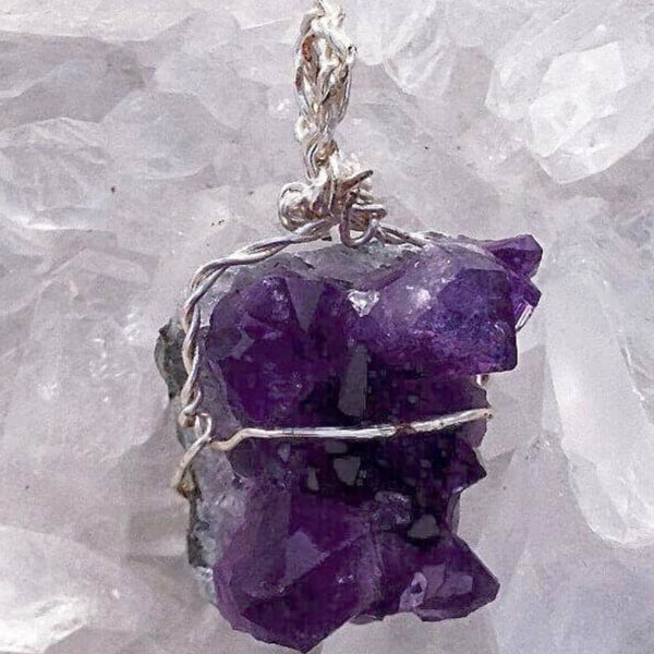 Amethyst Drusy Wire Wrapped 3D Cluster Pendant - New Earth Gifts