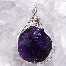 Amethyst Drusy Wire Wrapped Pendant - New Earth Gifts