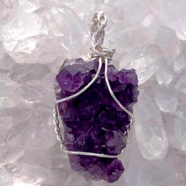 Amethyst Drusy Wire Wrapped Pendant Kite Shaped Style - New Earth Gifts