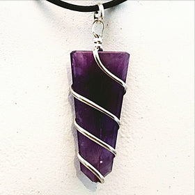 Amethyst Pendant Diagonally Wrapped for Motion and Energy - New Earth Gifts