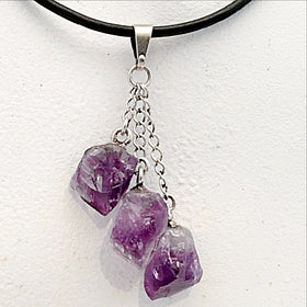 Amethyst Triple Point Pendant with Dangling Crystal Points - New Earth Gifts