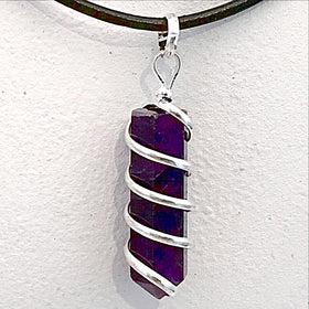 Spiral Wrapped Amethyst Pendant - New Earth Gifts