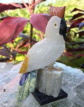 Gemstone Cockatoo Carving (Peruvian) For Sale | New Earth Gifts