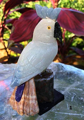 Gemstone Carvings of Peruvian Cockatoo | New Earth Gifts