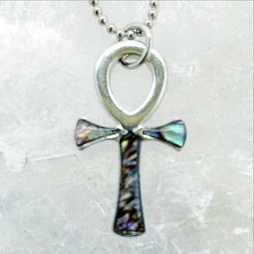 Ankh Cross Paua Shell Pendant - New Earth Gifts