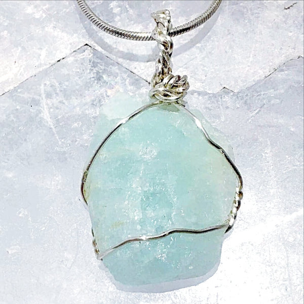 Aquamarine Natural Pendant Wire Wrap - New Earth Gifts
