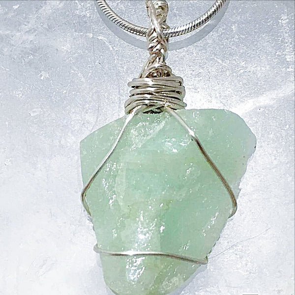 Aquamarine Natural Pendant Wire Wrap Unique Style -New Earth Gifts