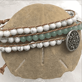 Beaded 3 Wrap Bracelet - Aventurine - Howlite - White Onyx - New Earth Gifts