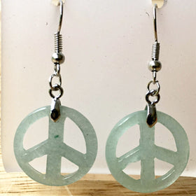Peace Sign Aventurine Dangle Earrings -New Earth Gifts