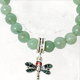 Aventurine Bracelet with Jeweled Dragonfly Charm | New Earth Gifts