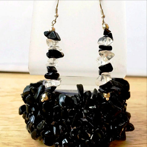 Black Stone 5 Strand Cuff Stretch Bracelets with Earrings - New Earth Gifts