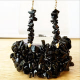 Black Stone strand Cuff Stretch Bracelets with Matching Earrings - New Earth Gifts