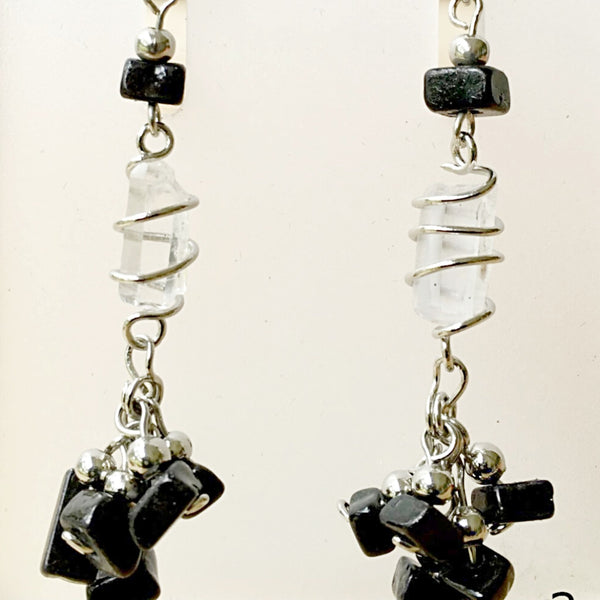 Quartz Point and Black Onyx Chip Earrings - New Earth Gifts