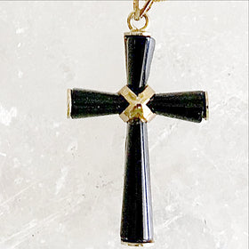 Black Onyx and Gold Cross Pendant | New Earth Gifts
