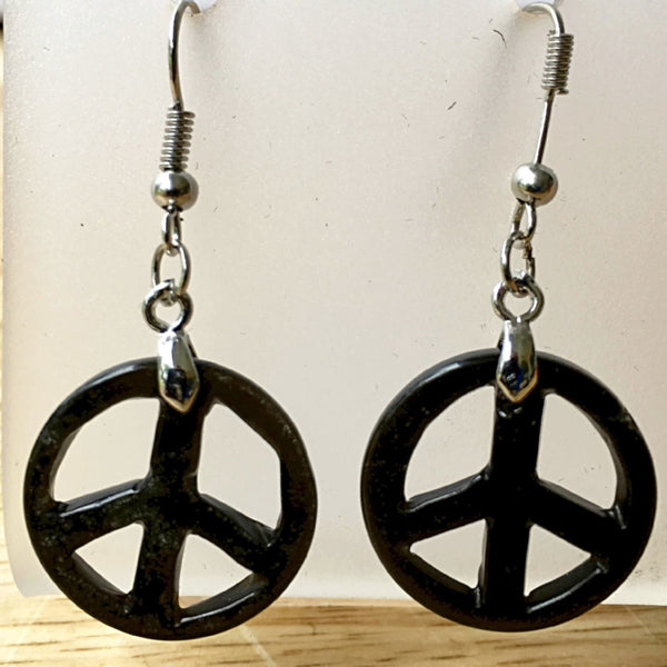 Peace Sign Black Onyx Dangle Earrings  - New Earth Gifts