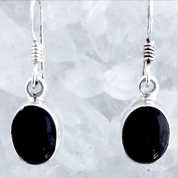 Black Onyx Sterling Oval Earrings - New Earth Gifts