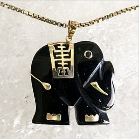 Elephant Black Onyx Pendant | New Earth Gifts