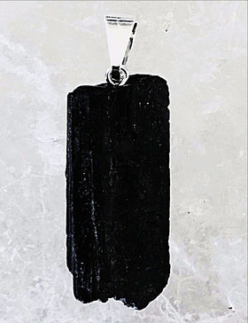Black Tourmaline Natural Pendant with Bail - New Earth Gifts