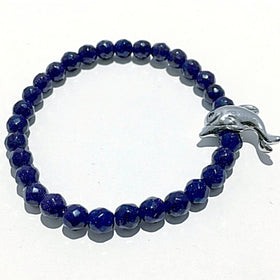 Blue Goldstone Bracelet with Dolphin Charm | New Earth Gifts