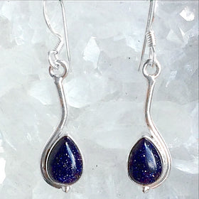 Blue Goldstone Teardrop Sterling Earrings | New Earth Gifts
