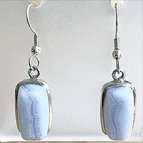 Sterling Silver Blue Lace Agate Earrings - New Earth Gifts