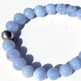 Blue Lace Agate Power Bracelet for Open Communication-8mm - New Earth Gifts