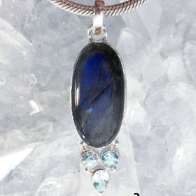 Blue Labradorite Pendant with Faceted Blue Topaz accents | New Earth Gifts