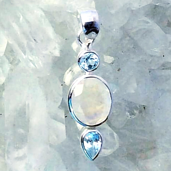Rainbow Moonstone Faceted Oval Pendant with Blue Topaz Accents | New Earth Gift