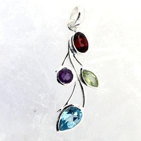 "Sterling Mixed Gemstone Pendant of Cascading Leaves is part of our Cascading Leaves collection. Beautiful for any time of year, the dainty pendant is 1.5"" long. - New Earth Gifts"