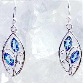 Sterling Blue Topaz Floral Style Earrings - New Earth Gifts