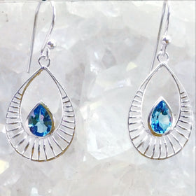 Sterling Blue Topaz Dangle Earrings Sunrise Design - New Earth Gifts