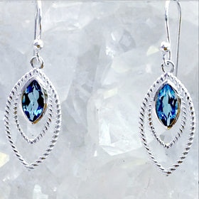 Sterling Blue Topaz Dangle Earrings Triple Marquis Design-New Earth Gifts