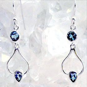 Sterling Blue Topaz Dangle Earrings Zen Design-New Earth Gifts