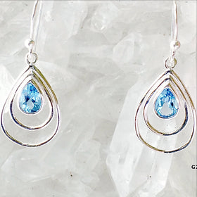 Blue Topaz Faceted Earrings Sunny Day Design - New Earth Gifts
