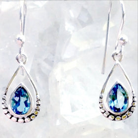 Blue Topaz Faceted Earring Tear Drop Design - New Earth Gifts