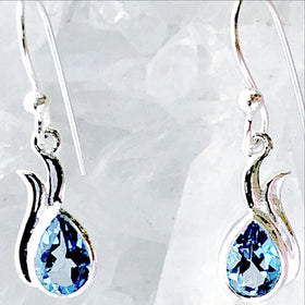 Blue Topaz Faceted Earring Dew Drop Design - New Earth Gifts