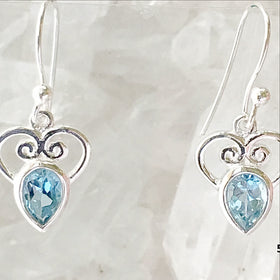 Blue Topaz Faceted Earrings Heart Design - New Earth Gifts