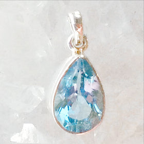 Sterling Blue Topaz Tear Drop Faceted Pendant - New Earth Gifts