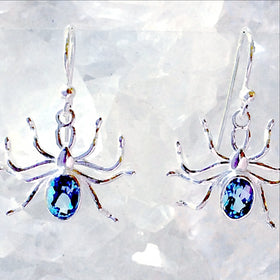Sterling Blue Topaz Spider Earrings  - New Earth Gifts and Beads