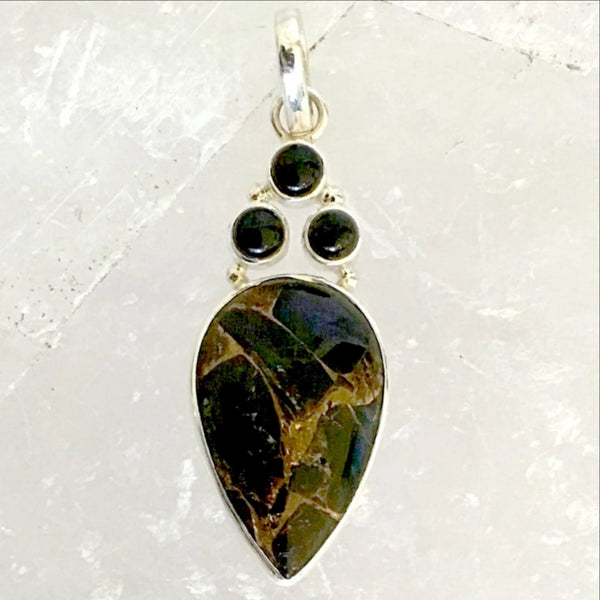 Bronzite Teardrop Pendant with Black Onyx Accents | New Earth Gifts