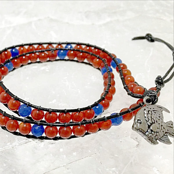 Beaded Wrap Bracelet Carnelian & Faceted Lapis Beads-New Earth Gifts
