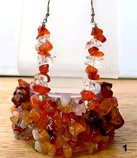 Carnelian 5-strand Cuff Stretch Bracelets with Earrings - New Earth Gifts