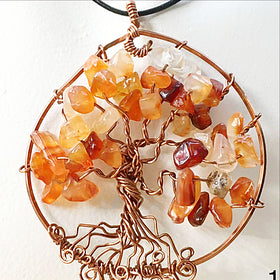 Tree Of Life Gemstone Pendants - Carnelian Stone For Sale New Earth Gifts