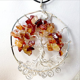 Carnelian Stone - Tree Of Life Pendant For Sale New Earth Gifts
