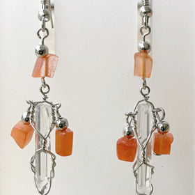 Quartz Point and Carnelian Chip Earrings - New Earth Gifts